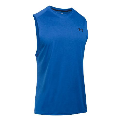 Mens Under Armour Tech Muscle Sleeveless & Tank Tops Technical Tops - Blue Marker L ...