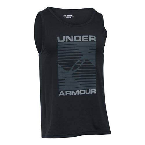 Mens Under Armour Turned Up Sleeveless & Tank Technical Tops - Black/Steel L