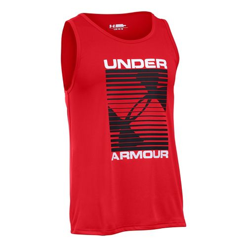 Mens Under Armour Turned Up Sleeveless & Tank Technical Tops - Red/White S