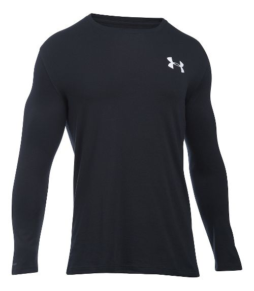 Mens Under Armour Vertical Wordmark T Long Sleeve Technical Tops - Black LR