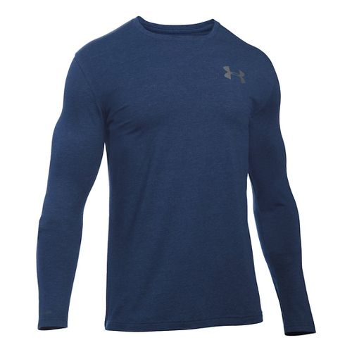 Mens Under Armour Vertical Wordmark T Long Sleeve Technical Tops - Midnight Navy LR
