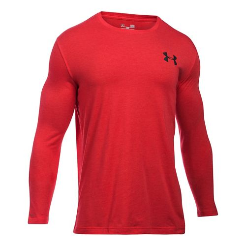 Mens Under Armour Vertical Wordmark T Long Sleeve Technical Tops - Red LR