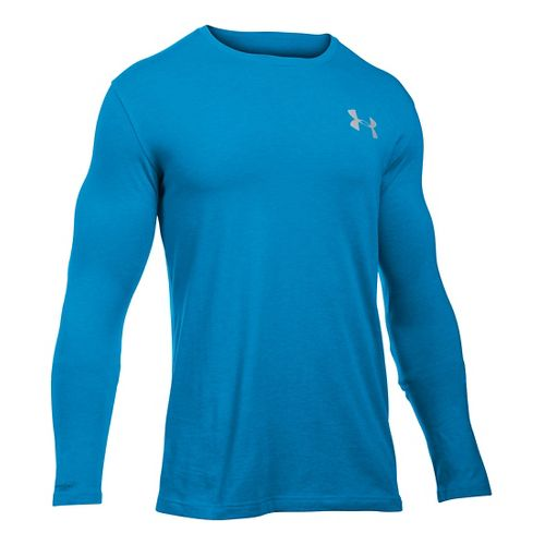 Mens Under Armour Vertical Wordmark T Long Sleeve Technical Tops - Brilliant Blue LR