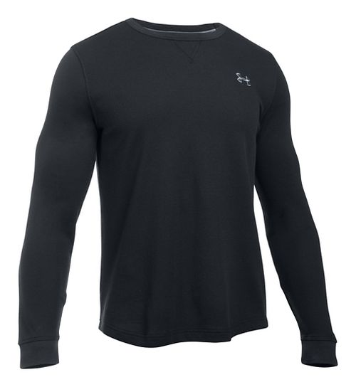 Mens Under Armour Waffle Crew Long Sleeve Technical Tops - Black 3XL