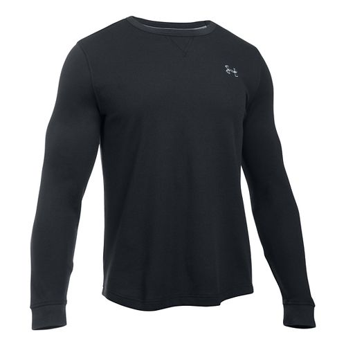 Mens Under Armour Waffle Crew Long Sleeve Technical Tops - Black MR