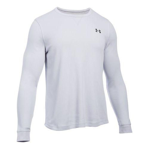 Mens Under Armour Waffle Crew Long Sleeve Technical Tops - Grey Heather 3XLR