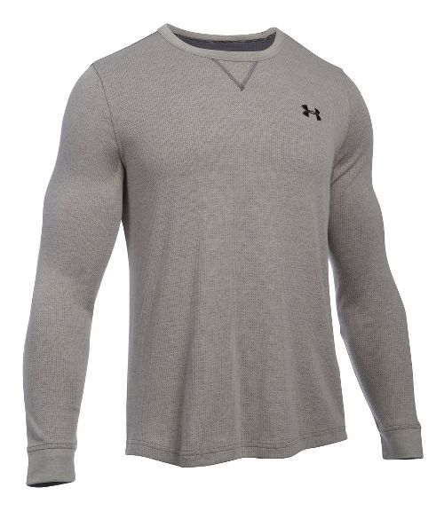 Mens Under Armour Waffle Crew Long Sleeve Technical Tops - Carbon Heather S