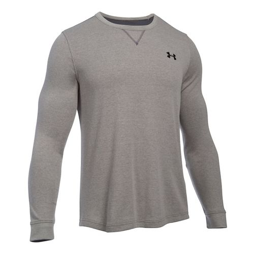 Mens Under Armour Waffle Crew Long Sleeve Technical Tops - Carbon Heather SR