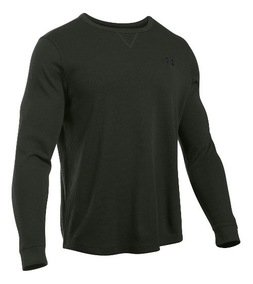 Mens Under Armour Waffle Crew Long Sleeve Technical Tops - Artillery Green L