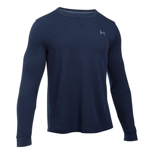 Mens Under Armour Waffle Crew Long Sleeve Technical Tops - Midnight Navy SR