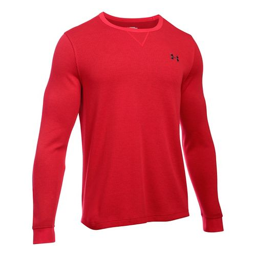 Mens Under Armour Waffle Crew Long Sleeve Technical Tops - Red LR