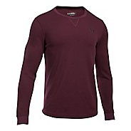 Mens Under Armour Waffle Crew Long Sleeve Technical Tops - Carbon Heather M