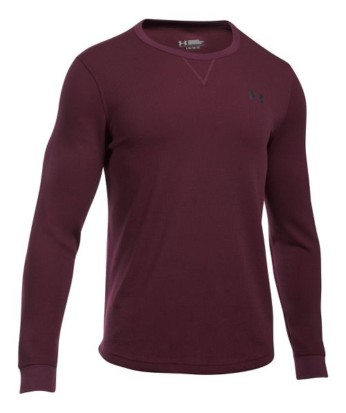 Mens Under Armour Waffle Crew Long Sleeve Technical Tops - Raisin Red 3XL-T