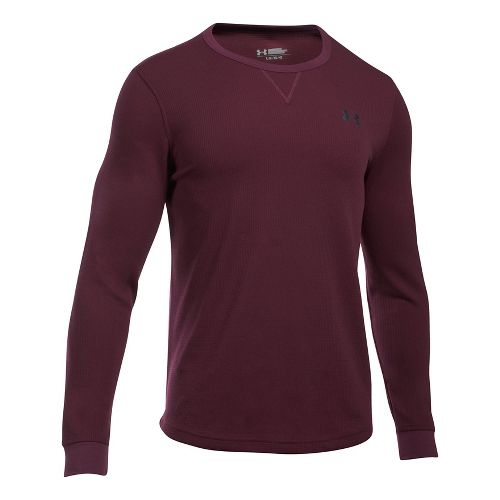 Mens Under Armour Waffle Crew Long Sleeve Technical Tops - Raisin Red XXL