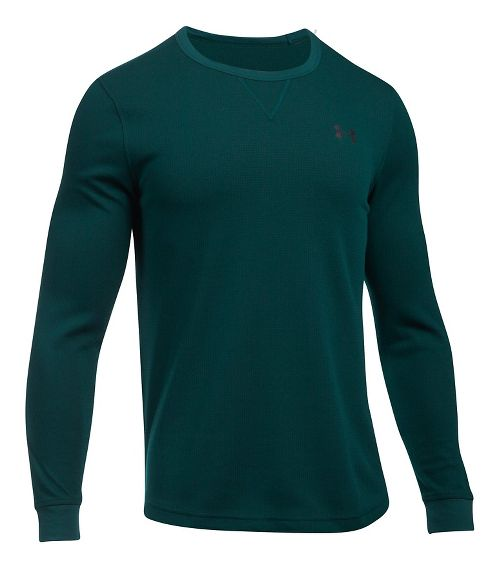 Mens Under Armour Waffle Crew Long Sleeve Technical Tops - Arden Green M