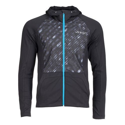 Mens Zoot Dawn Patrol Full Zip Hoodie Running Jackets - Black/Rip Tide XL