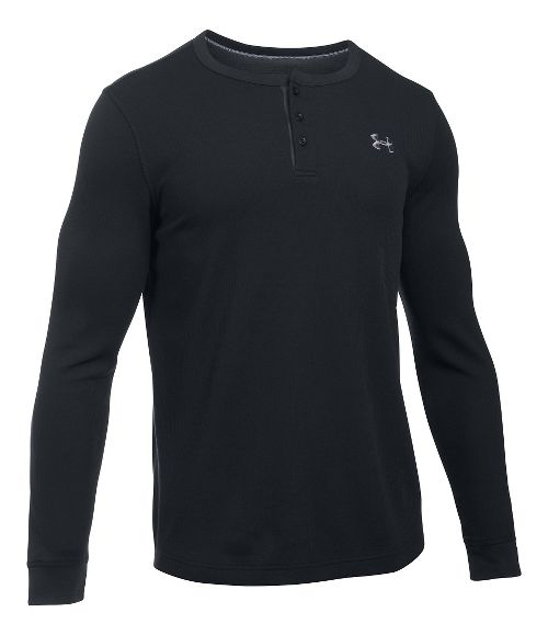 Mens Under Armour Waffle Henley Long Sleeve Technical Tops - Black MR
