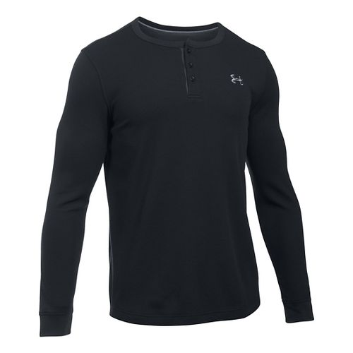 Mens Under Armour Waffle Henley Long Sleeve Technical Tops - Black SR