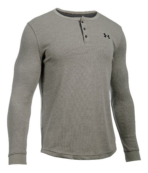 Mens Under Armour Waffle Henley Long Sleeve Technical Tops - Carbon Heather 3XLR