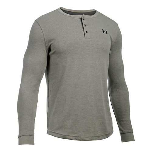 Mens Under Armour Waffle Henley Long Sleeve Technical Tops - Carbon Heather SR