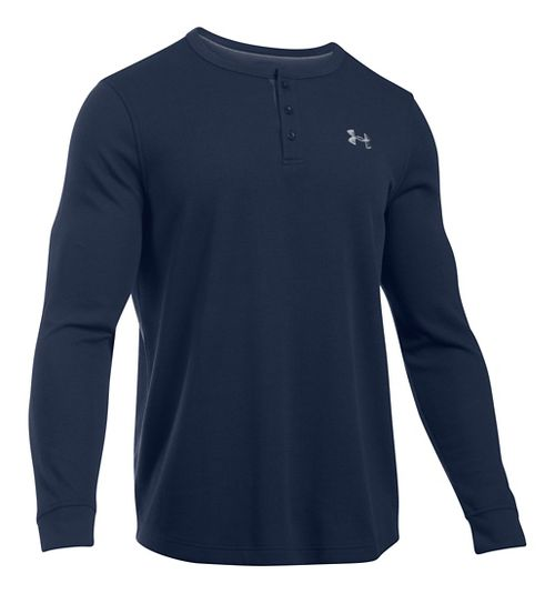 Mens Under Armour Waffle Henley Long Sleeve Technical Tops - Midnight Navy XLR