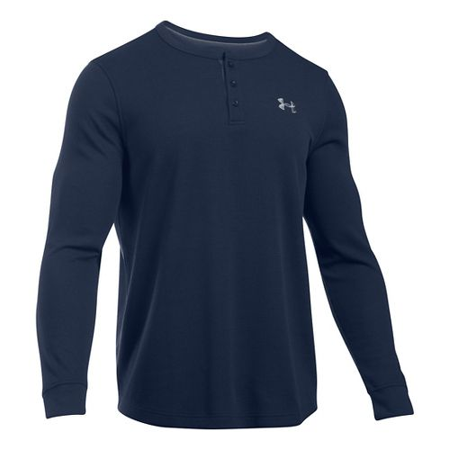 Mens Under Armour Waffle Henley Long Sleeve Technical Tops - Midnight Navy LR