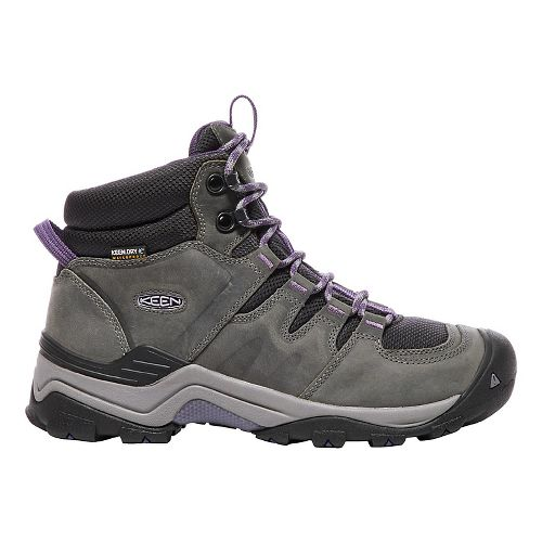 Womens Keen Gypsum II Mid WP Hiking Shoe - Grey/Purple 7.5