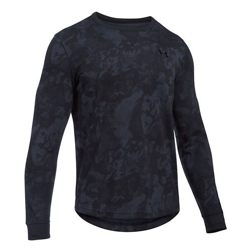 Mens Under Armour Waffle Novelty Long Sleeve Technical Tops - Black SR