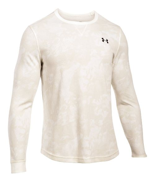 Mens Under Armour Waffle Novelty Long Sleeve Technical Tops - Ivory LR