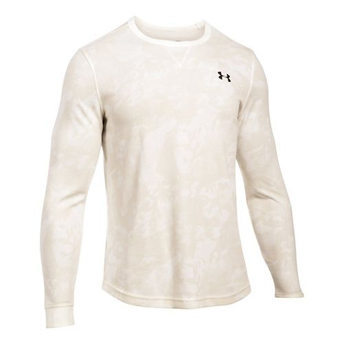 Mens Under Armour Waffle Novelty Long Sleeve Technical Tops - Ivory XLR