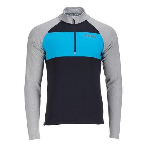 Mens Zoot Ocean Side 1/2 Zip Long Sleeve Technical Tops - Black/White Stripe XL
