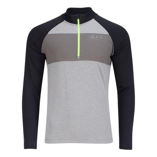 Mens Zoot Ocean Side 1/2 Zip Long Sleeve Technical Tops - White Stripe/Black XL