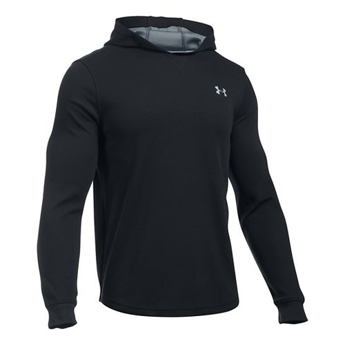Mens Under Armour Waffle Popover Hoodie & Sweatshirts Technical Tops - Black SR