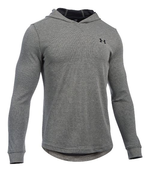 Mens Under Armour Waffle Popover Hoodie & Sweatshirts Technical Tops - Asphalt Heather SR