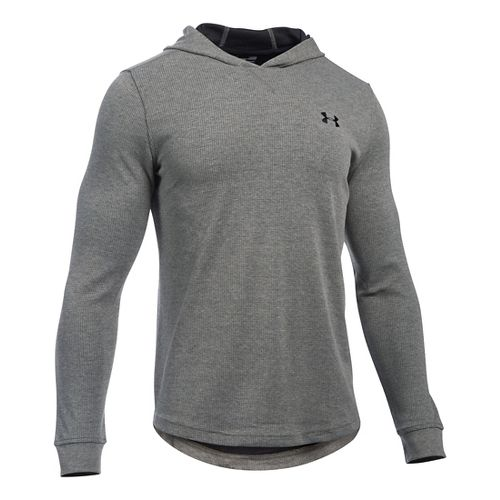 Mens Under Armour Waffle Popover Hoodie & Sweatshirts Technical Tops - Asphalt Heather XLR