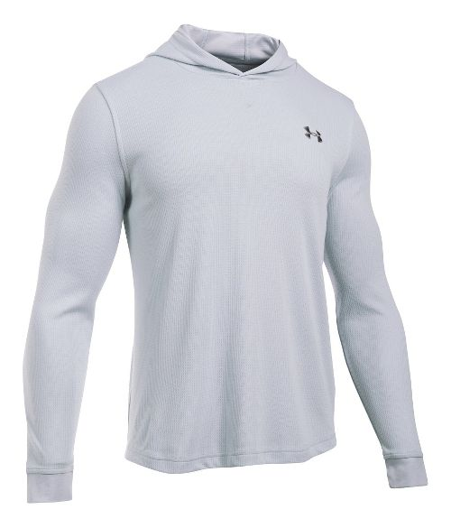 Mens Under Armour Waffle Popover Hoodie & Sweatshirts Technical Tops - Grey Heather SR