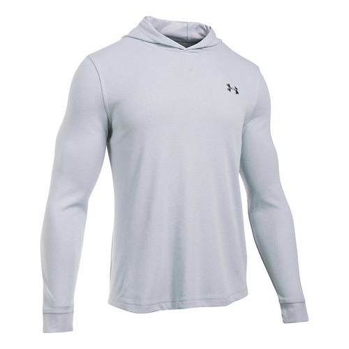Mens Under Armour Waffle Popover Hoodie & Sweatshirts Technical Tops - Grey Heather MR
