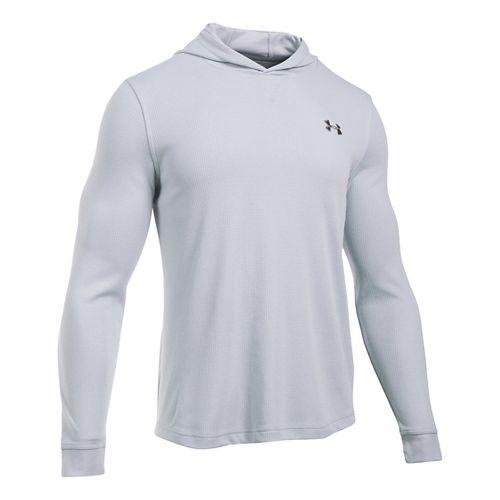 Mens Under Armour Waffle Popover Hoodie & Sweatshirts Technical Tops - Grey Heather XLR