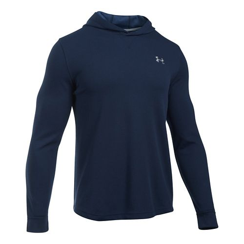 Mens Under Armour Waffle Popover Hoodie & Sweatshirts Technical Tops - Midnight Navy LR