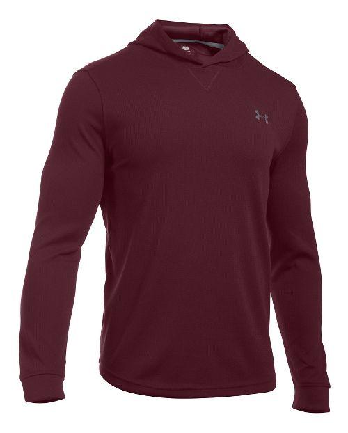 Mens Under Armour Waffle Popover Hoodie & Sweatshirts Technical Tops - Dark Maroon MR