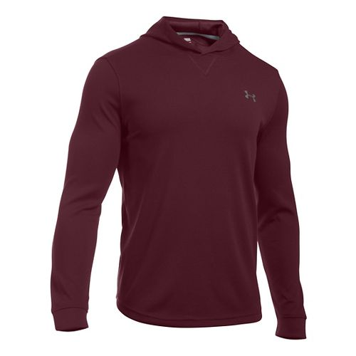 Mens Under Armour Waffle Popover Hoodie & Sweatshirts Technical Tops - Black MR