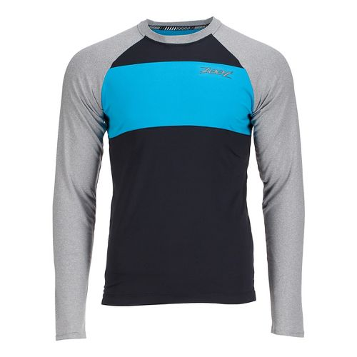 Mens Zoot Ocean Side Long Sleeve Technical Tops - Black/White Stripe L