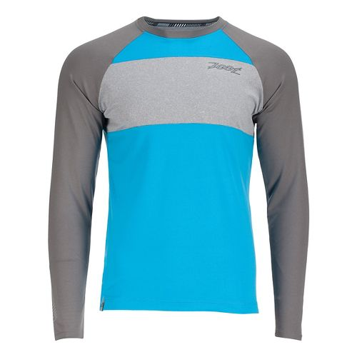 Mens Zoot Ocean Side Long Sleeve Technical Tops - Sky/Graphite L