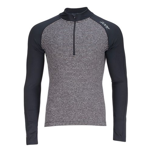 Mens Zoot Liquid Core 1/2 Zip Long Sleeve Technical Tops - Black/Grey Stripe S