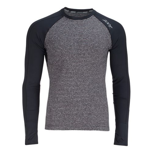 Mens Zoot Liquid Core Long Sleeve Technical Tops - Black/Grey Stripe L
