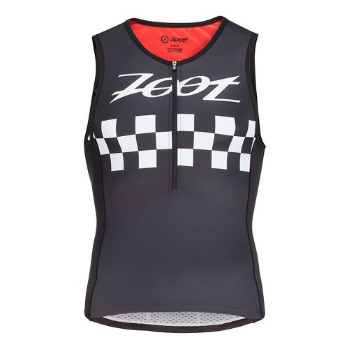 Mens Zoot Tri Cali Sleeveless & Tank Technical Tops - Black Checker S