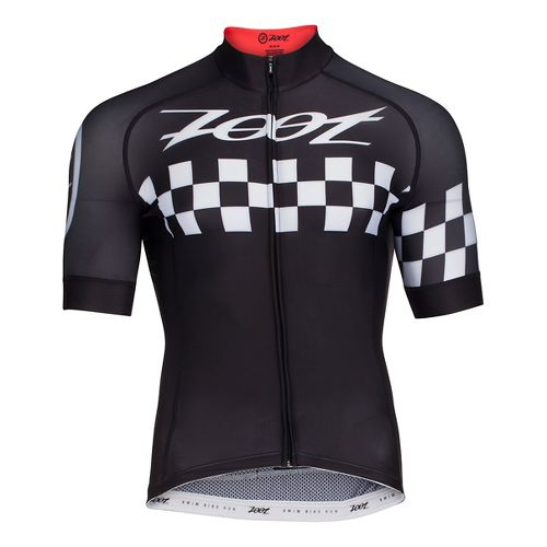 Mens Zoot Cycle Cali Jersey Short Sleeve Technical Tops - Black Checker M