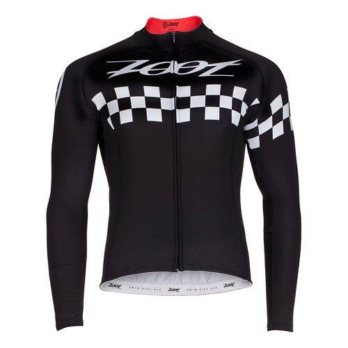 Mens Zoot Cycle Cali Thermo Jersey Long Sleeve Technical Tops - Black Checker L