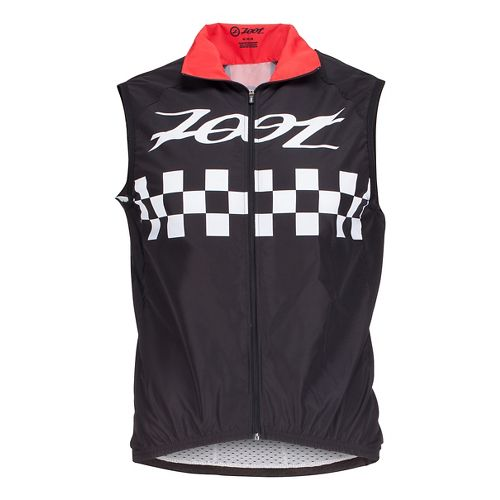 Mens Zoot Cycle Cali Wind Vests Jackets - Black Checker L