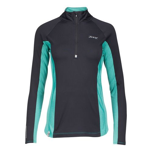 Womens Zoot Ocean Side 1/2 Zip Long Sleeve Technical Tops - Black/Aqua Stripe L
